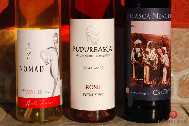 Sauvignon Blanc Nomad 2011, Rose Budureasca demisec 2011, Fetească Neagră Caloian 2010